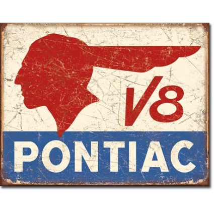Desperate Enterprises Pontiac V8 Logo Weathered Metal Sign